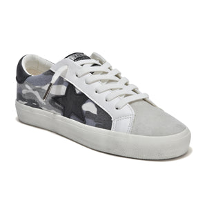 Glory - The Camo Lace Sneaker in Grey Vintage  Havana This fashionable camoflauge printed washed canvas lace sneaker with grey suede side star adds some fun to your wardrobe. Canvas, leather & suede upper, rubber sole, terry cloth lining & padded insole.