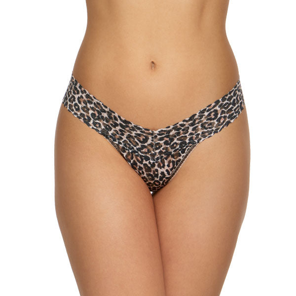 "Hanky Panky 2Z1584P - Low Rise Thong in Leopard by Hanky Panky. Low Rise fits lower on the hips. Has a signature V-front and V-back waistband, and leaves no visible panty line. One-size fits most (Hips measuring 35""-42""). Made in the USA."