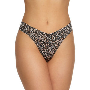 "Hanky Panky 2X1184P - Original Rise Thong in Leopard by Hanky Panky. Original Rise fits higher on the hips. Has a signature V-front and V-back waistband, and leaves no visible panty line. One-size fits most (hips measuring 36""- 45""). Made in the USA."