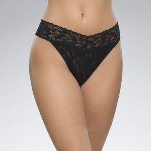 "Hank Panky 4811P - Original Rise Thong in Black by Hanky Panky. Original Rise fits higher on the hips. Has a signature V-front and V-back waistband, and leaves no visible panty line. One-size fits most (hips measuring 36""- 45""). Made in the USA."