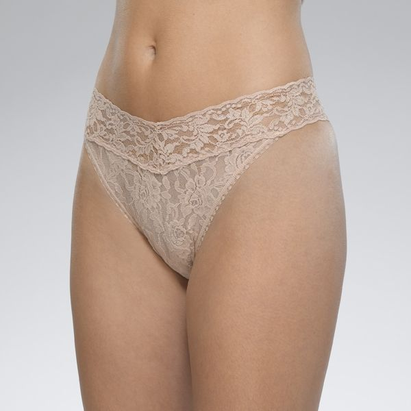"Hanky Panky 4811P - Original Rise Thong in Chai by Hanky Panky. Original Rise fits higher on the hips. Has a signature V-front and V-back waistband, and leaves no visible panty line. One-size fits most (hips measuring 36""- 45""). Made in the USA."