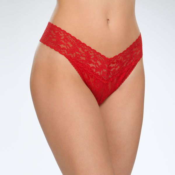 "Hanky Panky 4811P - Original Rise Thong in Red by Hanky Panky. Original Rise fits higher on the hips. Has a signature V-front and V-back waistband, and leaves no visible panty line. One-size fits most (hips measuring 36""- 45""). Made in the USA."