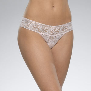"Hanky Panky 4911P - Low Rise Thong in Bliss Pink by Hanky Panky. Low Rise fits lower on the hips. Has a signature V-front and V-back waistband, and leaves no visible panty line. One-size fits most (Hips measuring 35""-42""). Made in the USA."