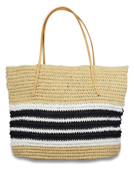"Hat Attack BVB395 - Packable Trio Stripe Tote by Hat Attack. Packable for easy summer travel with a classic color palette. Length 18"", Width 21"", Handel Drop 9""."