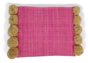 "Hat Attack BVE219 - Accent Clutch in Pink with Poms by Hat Attack. Smaller scaled thin clutch can fit in your daytime bag or be fun on its own for a night out. Length 9.5"" including poms, Width 7"". Handmade in Madagascar."