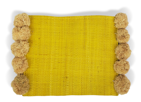 "Hat Attack BVE219 - Accent Clutch in Yellow with Poms by Hat Attack. Smaller scaled thin clutch can fit in your daytime bag or be fun on its own for a night out. Length 9.5"" including poms, Width 7"". Handmade in Madagascar."