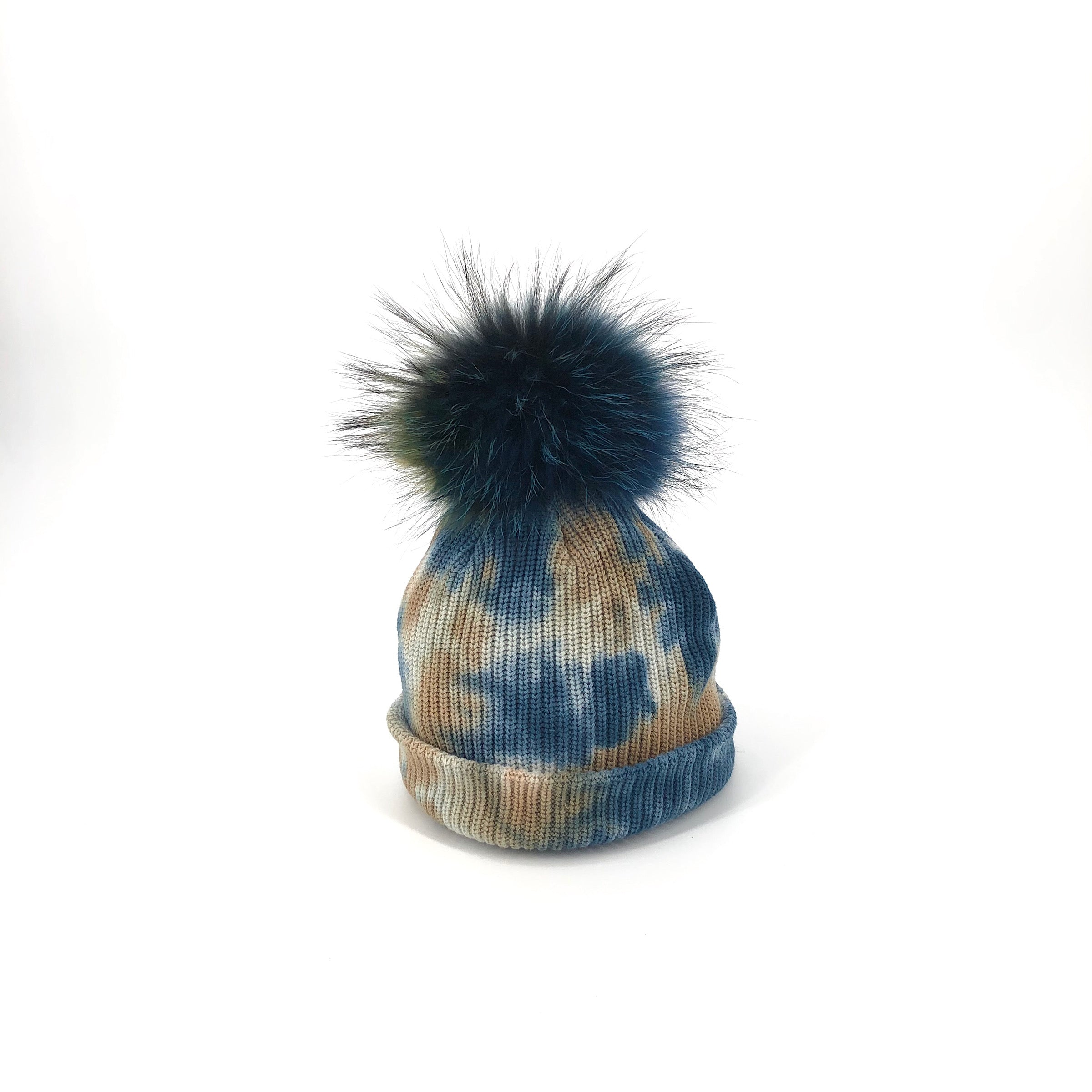The Tie Dye Fur Pom Hat in Blue