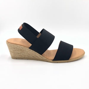 Betty - The Elastic 2 Band Espadrille in Black