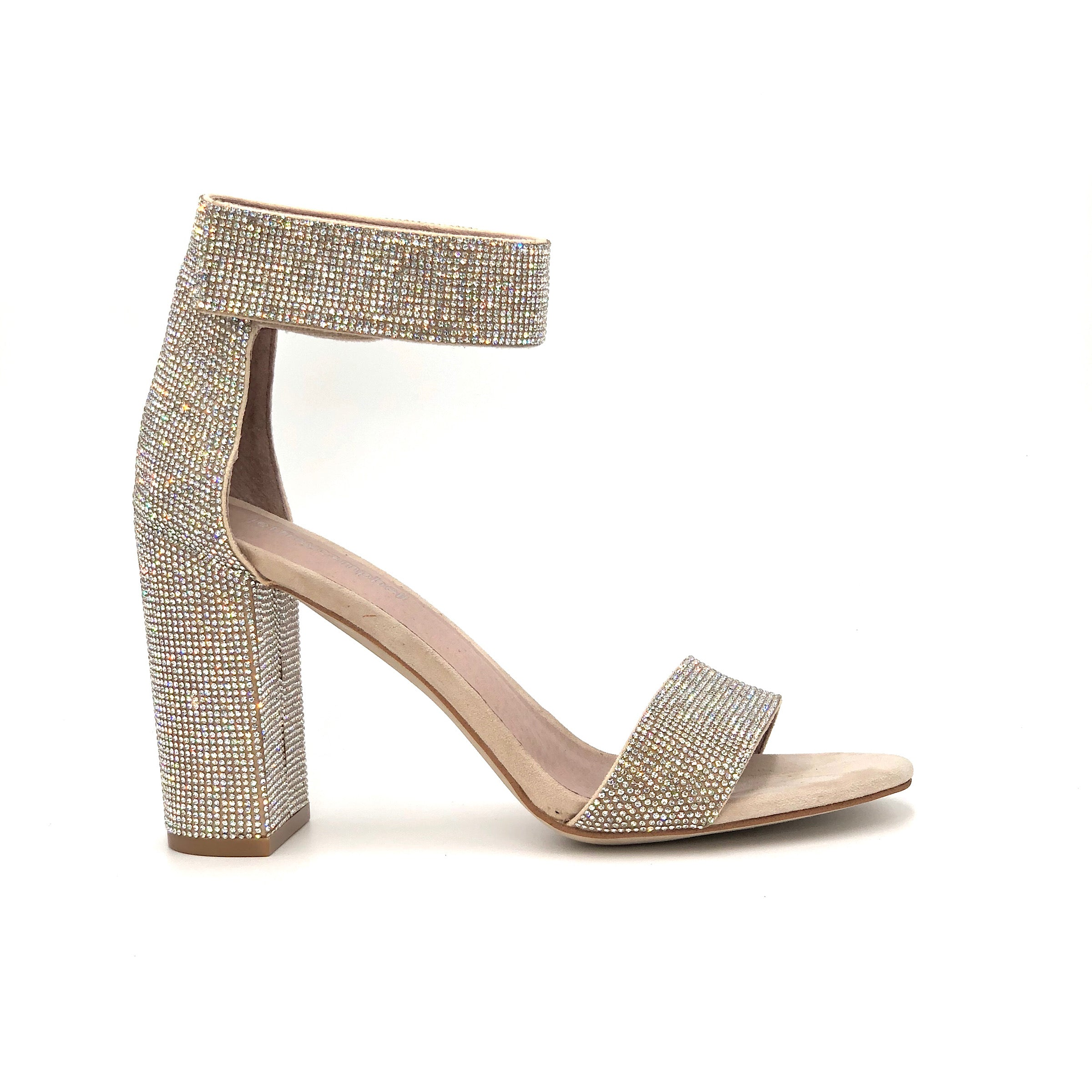 The High Crystal Sandal in Nude Champagne