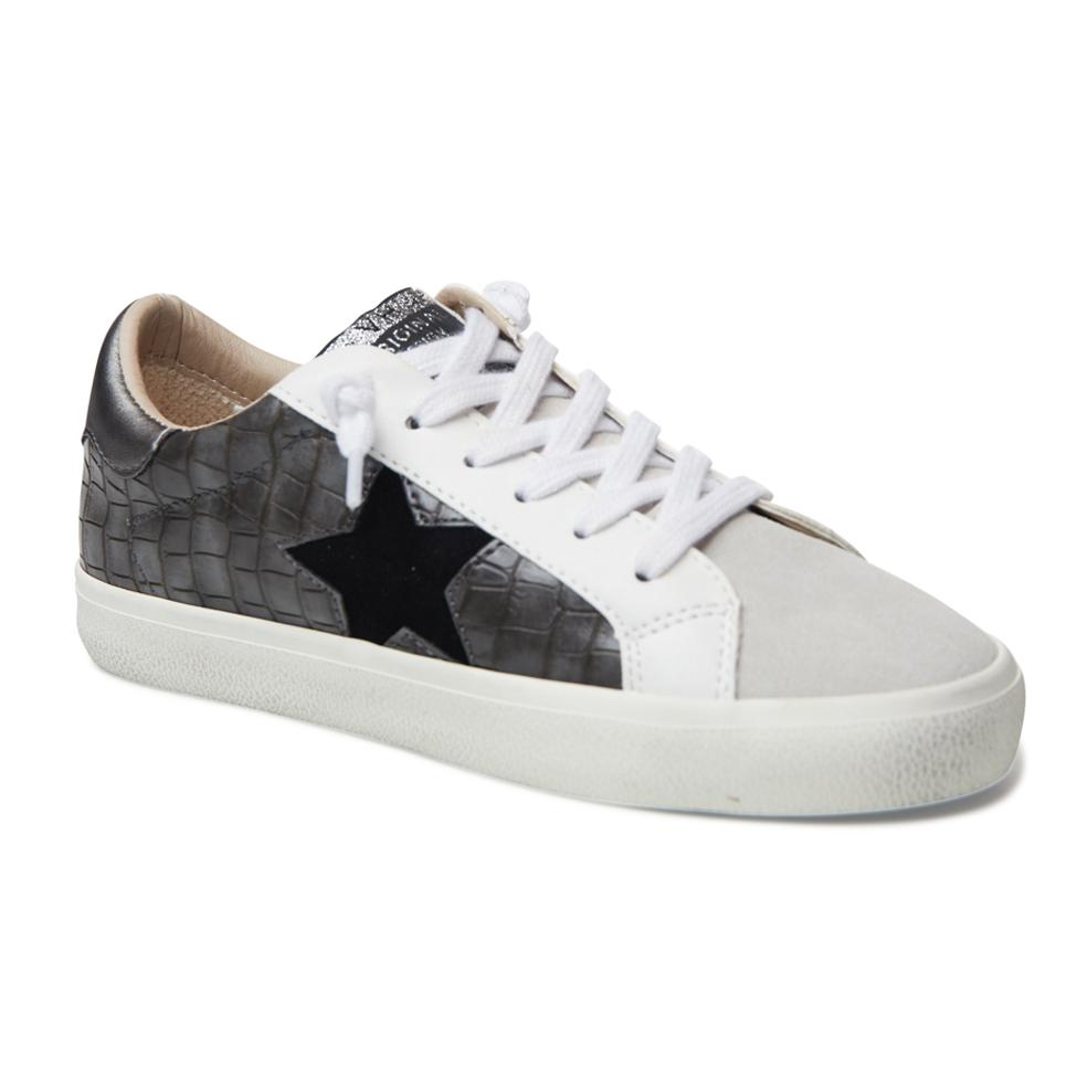 The Croco Printed Star Lace Sneaker in Pewter