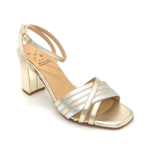 The Metallic Mix Sandal with Block Heel in Platino/Silver