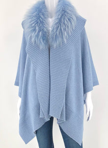 The Fur Trim Cashmere Wrap in Blue