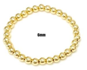 The 6mm Beaded Stretch Bracelet in Gold