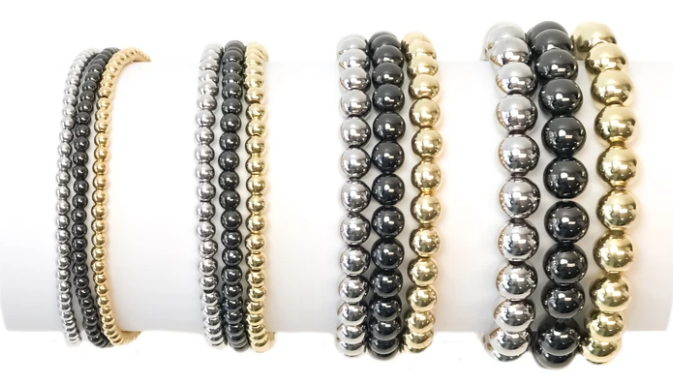 The 8mm Beaded Stretch Bracelet in Silver