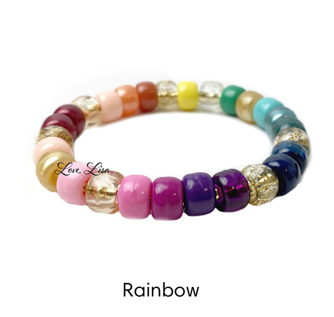 The Glam Beaded Multi Stretch Bracelet in Rainbow