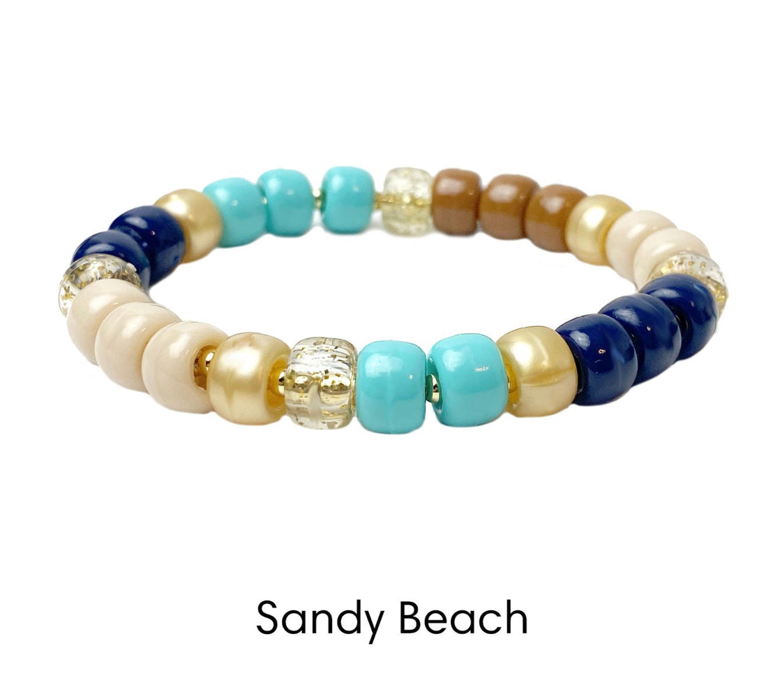 The Glam Beaded Multi Stretch Bracelet in Sandy Beach