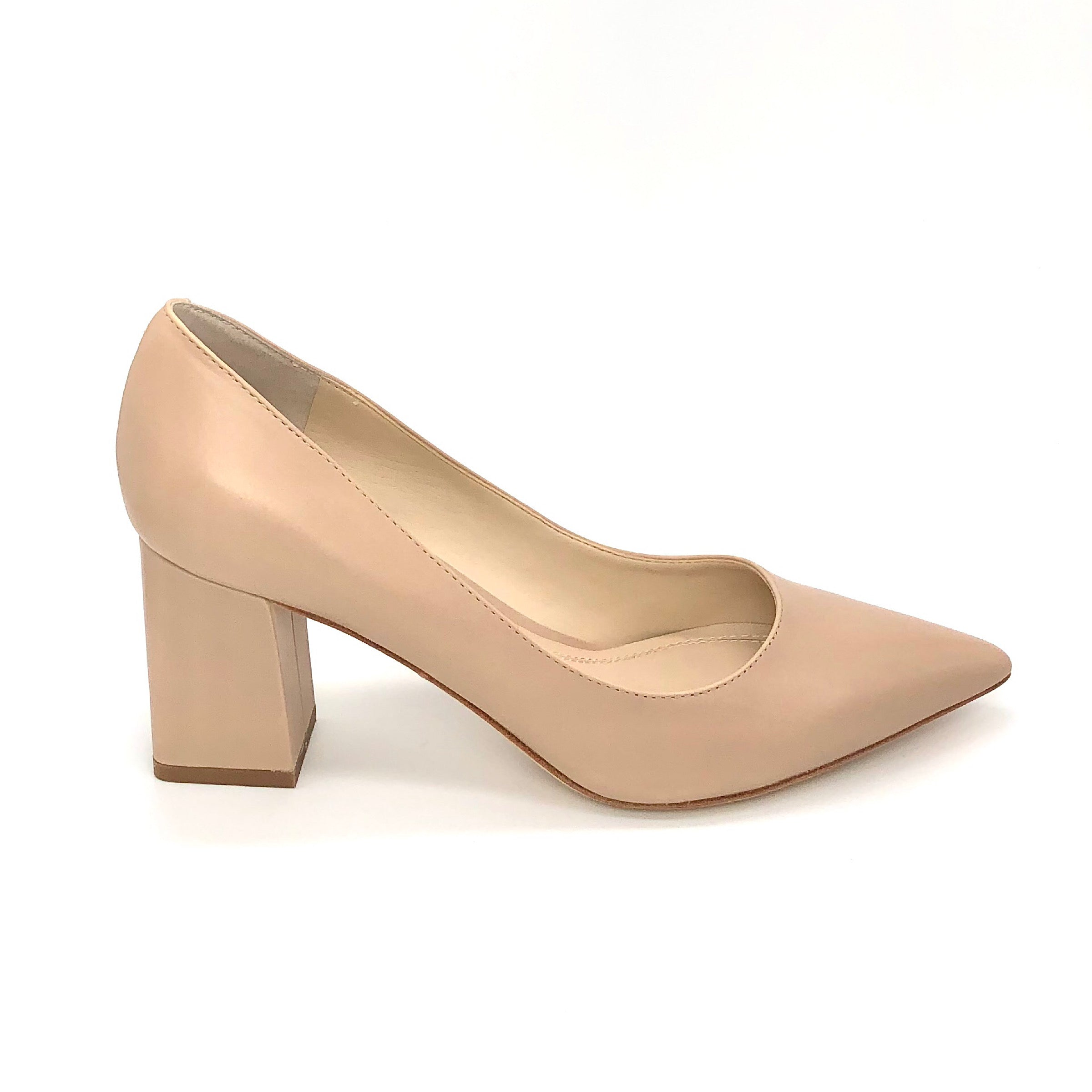 The Block Heel Pointed Pump in Light Natural