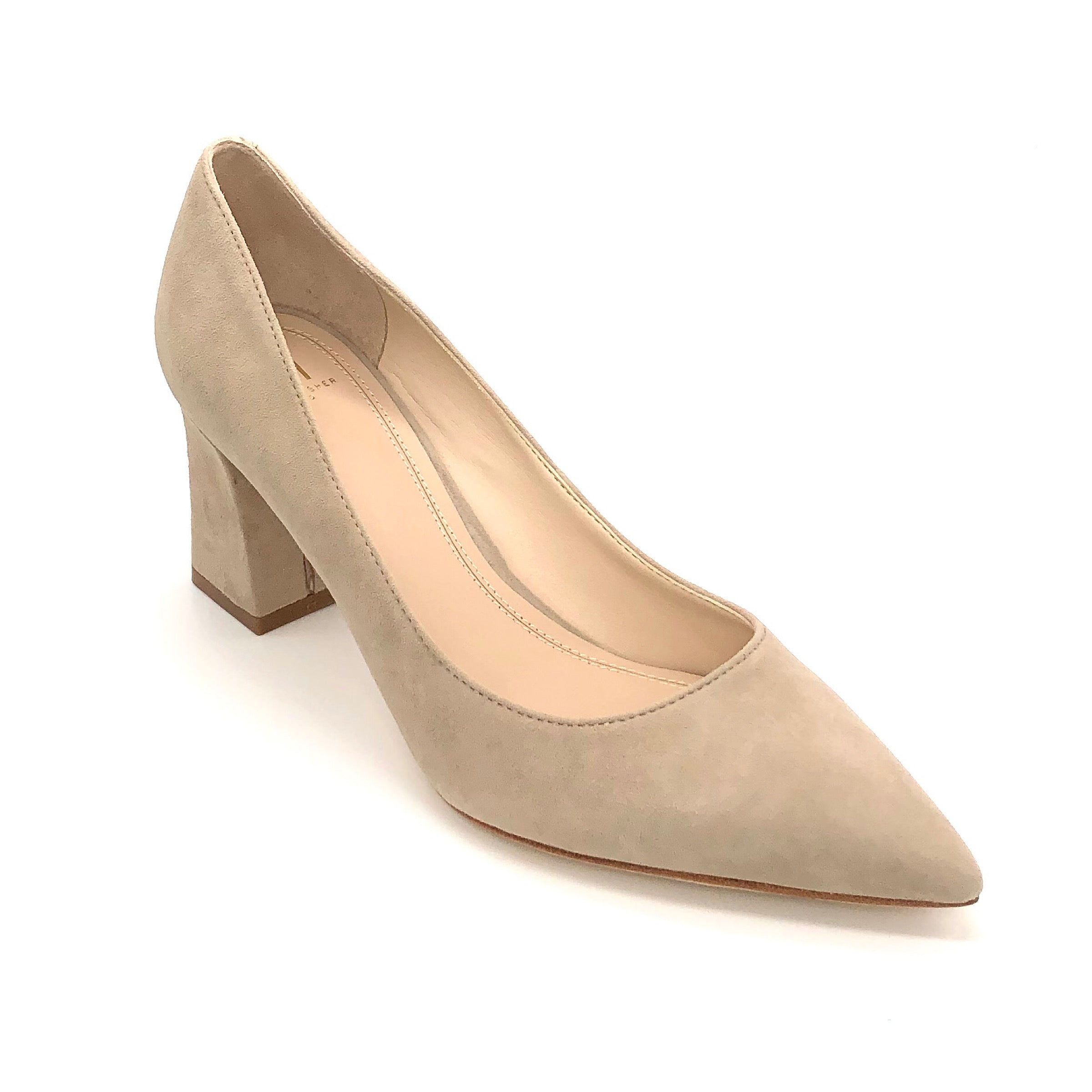 The Block Heel Pointed Pump in Natural