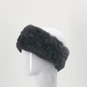 The Stretch Fur Headband in Charcoal