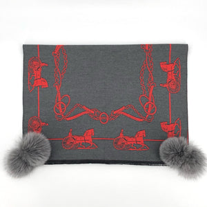 The Equestrian Pattern Scarf in Orange and Grey with Grey Fox Poms