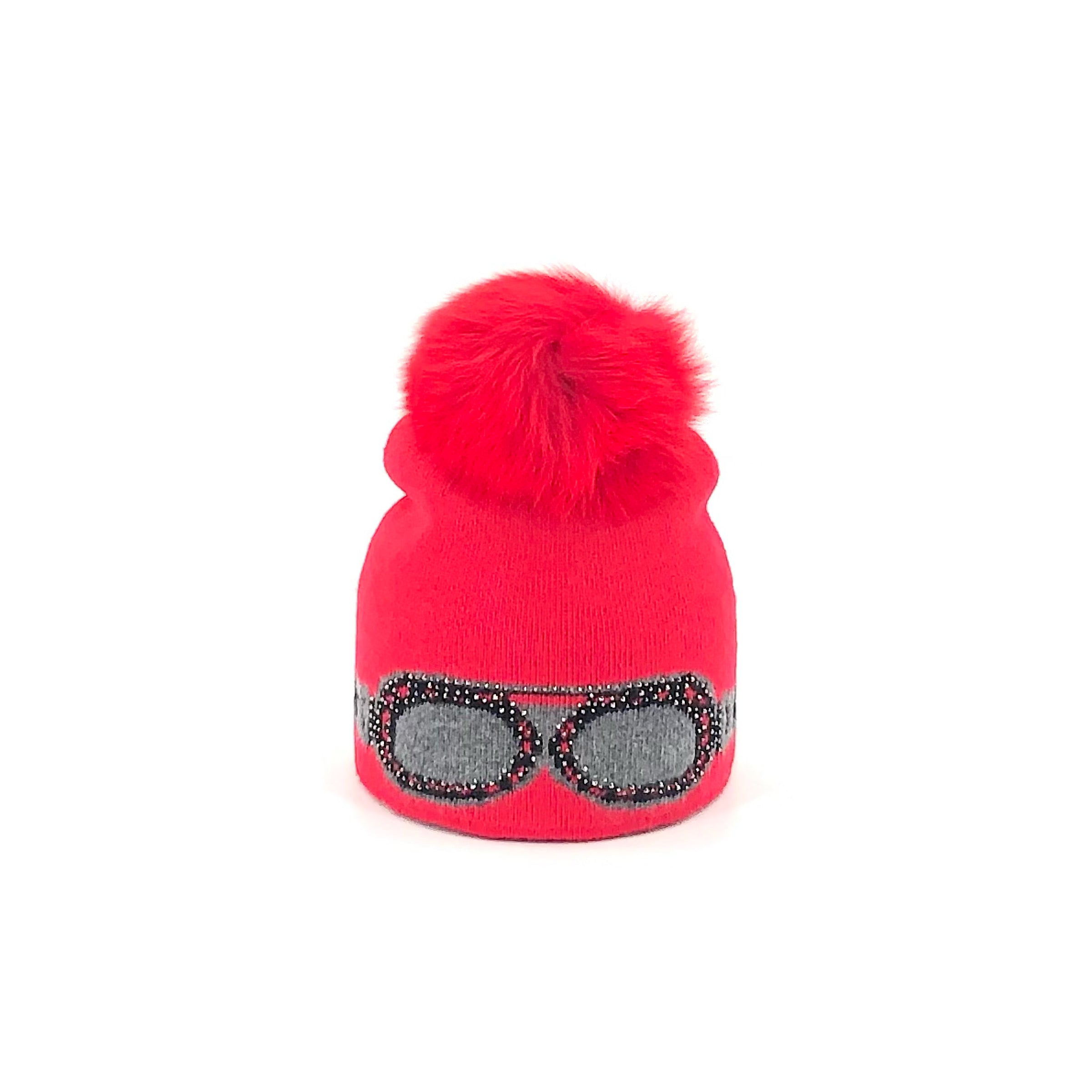 The Red Sparkle Sunglass Beanie With Red Fox Pom