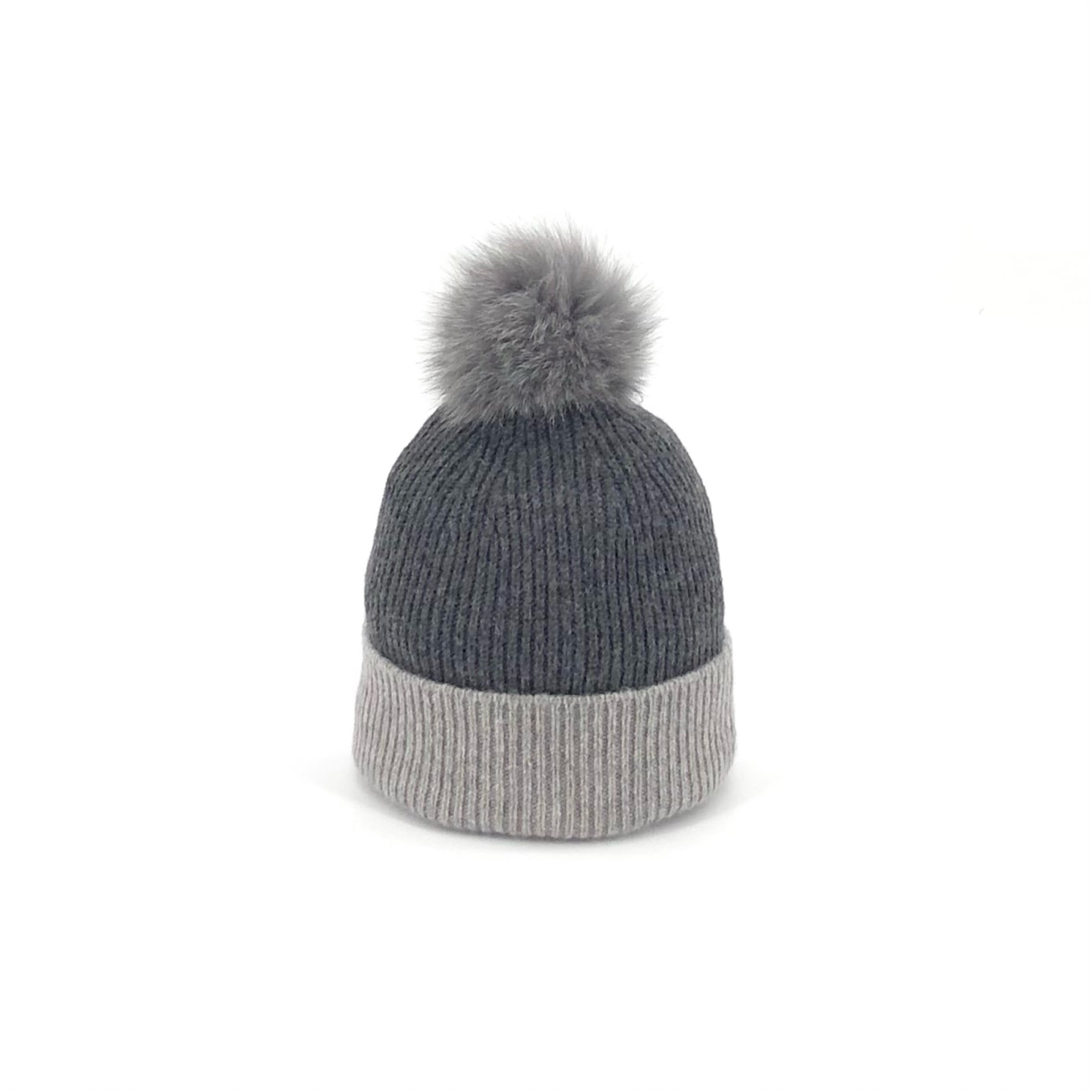 The Knitted Hat in Charcoal and Light Grey with Grey Fox Pom