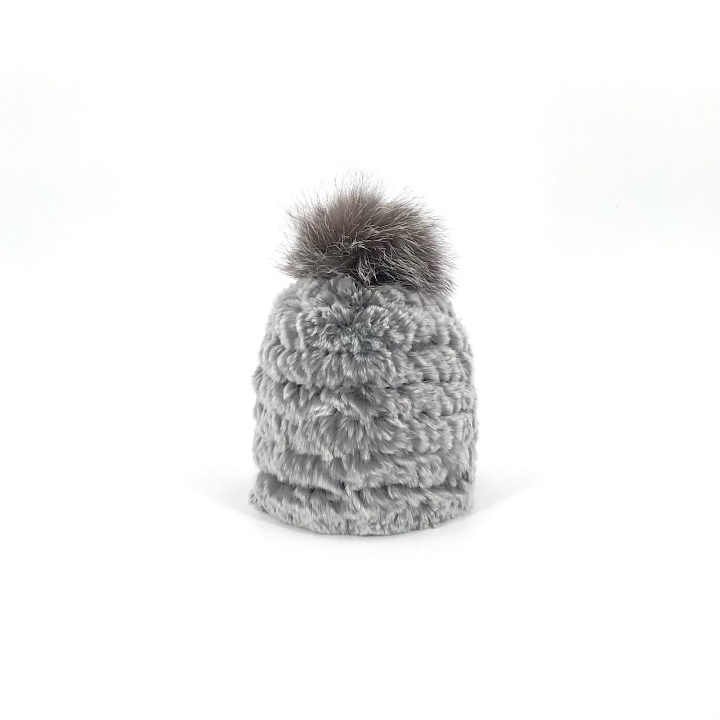 The Snowtop Knitted Rabbit Beanie in Grey with Indigo Fox Pom