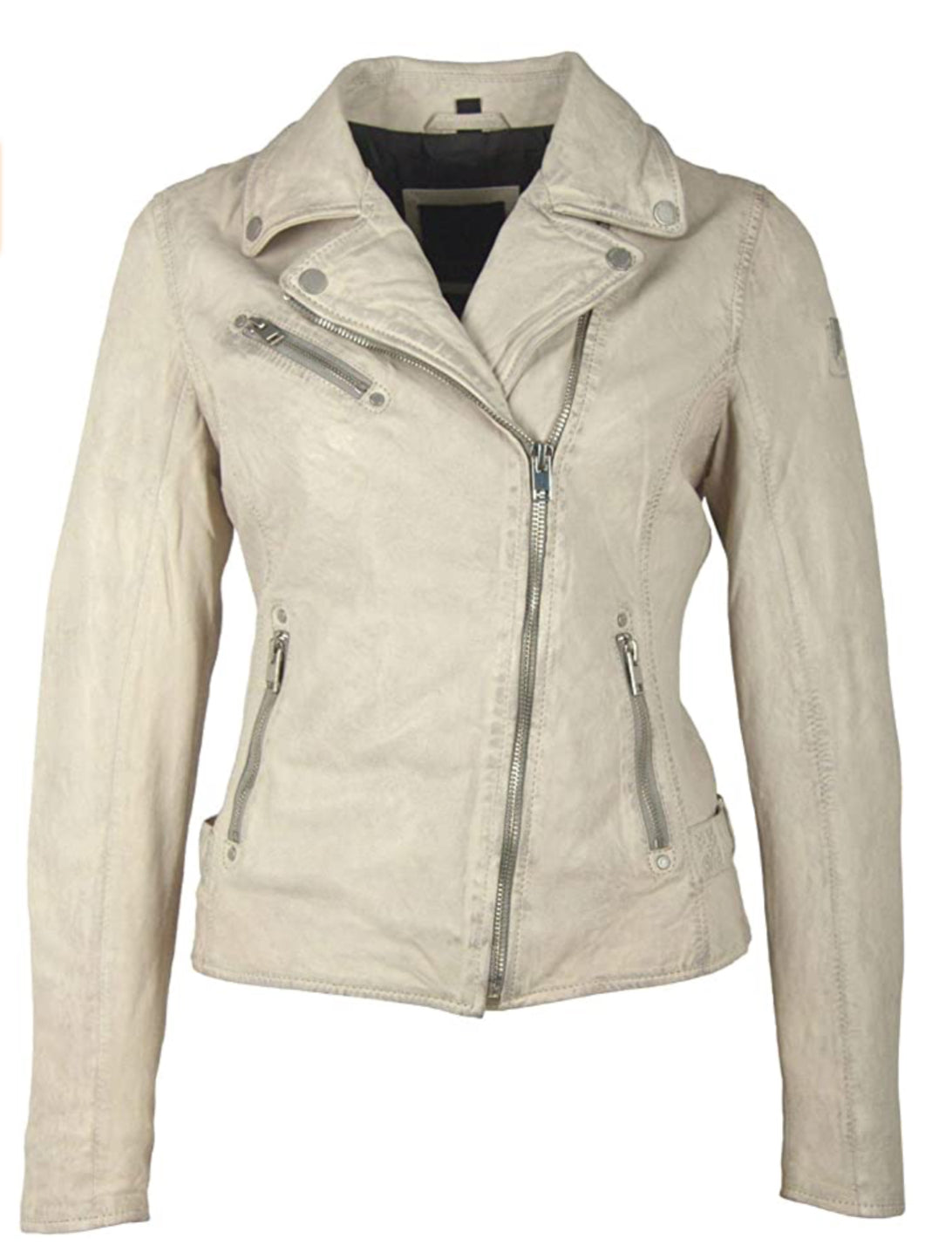 The Leather Moto Jacket in Off-White