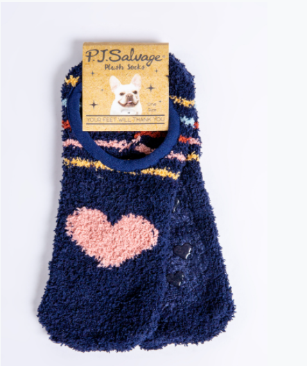 The Plush Ped in Navy with Heart and Stripes