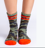 Load image into Gallery viewer, The Plush Sock in Camo with Orange Stripe