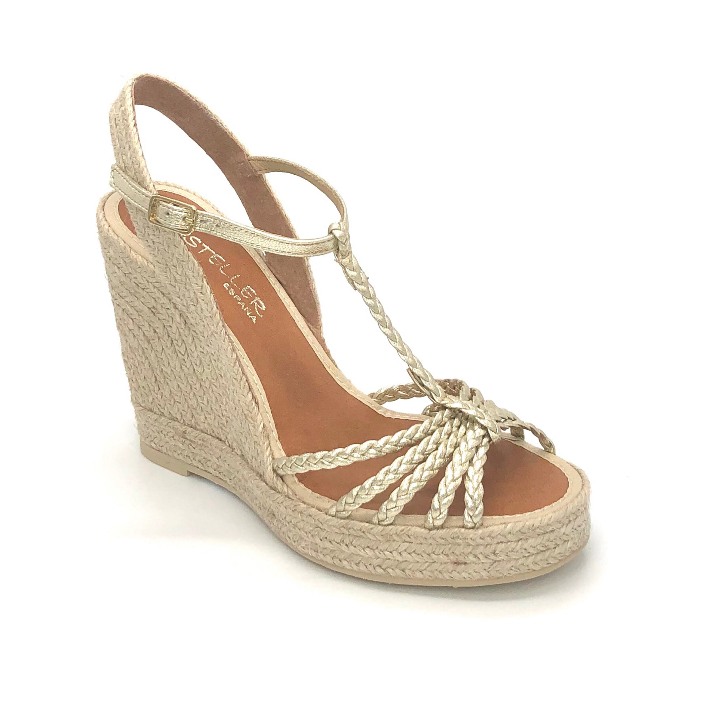 The Braided T-Strap Espadrille in Platino Metallic