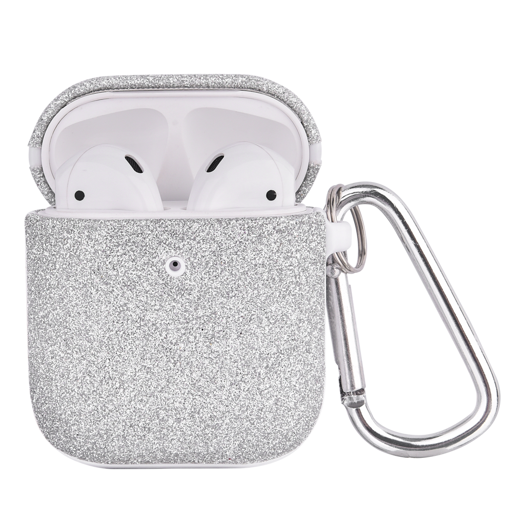 Phunkeee Tree AIRPODCASE - The Glitter Airpod Case Cover in Silver. This airpod case in glitter with hook attachment is a must have.