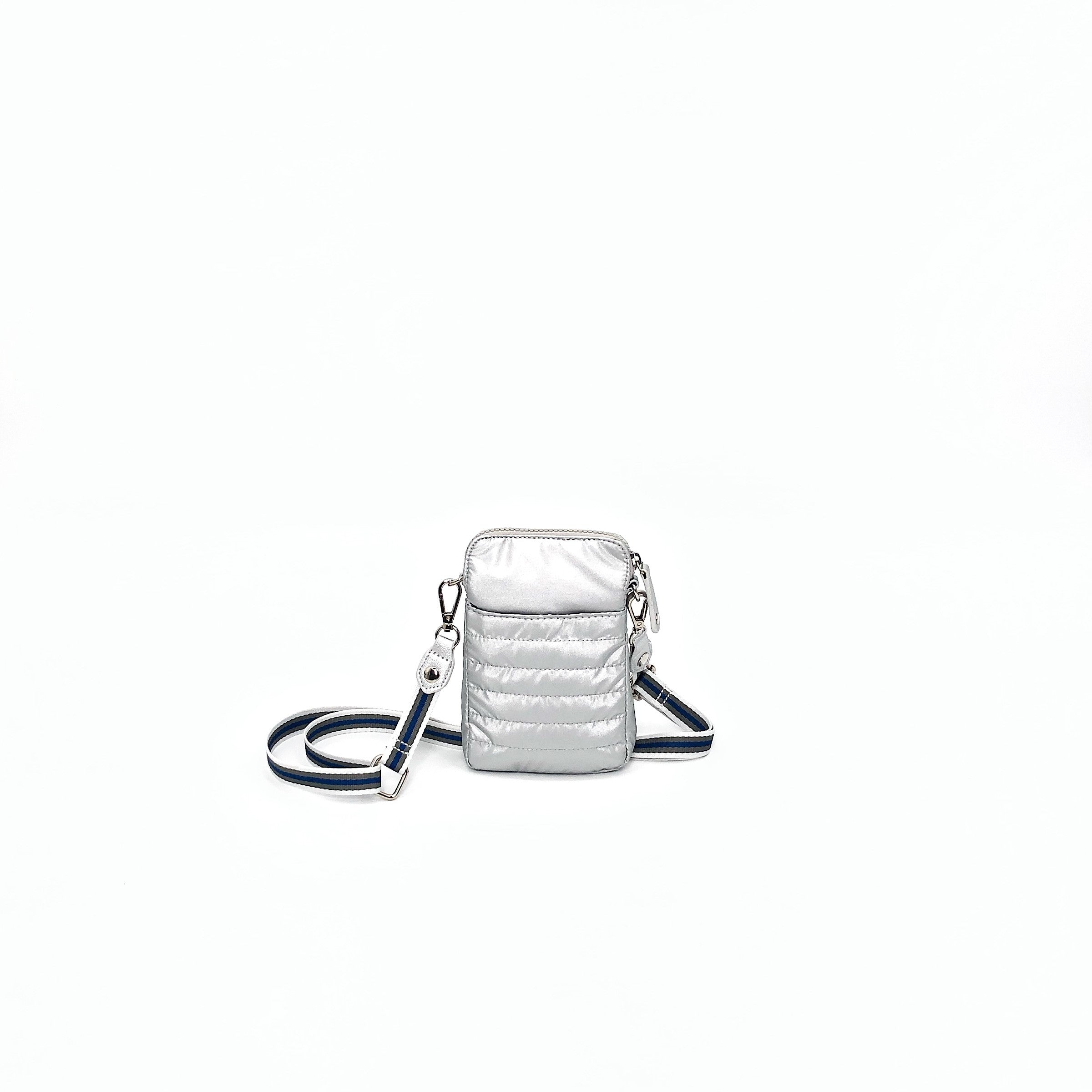 The Nylon Shiney Cell Phone Crossbody in Silver