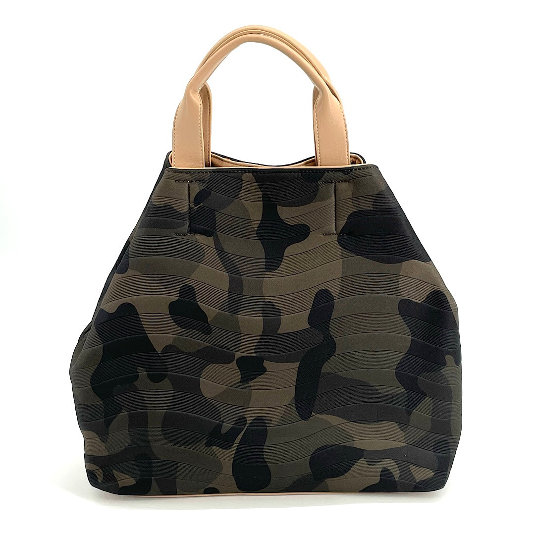 The Neoprene Gap Tote with Crossbody Strap in Camo