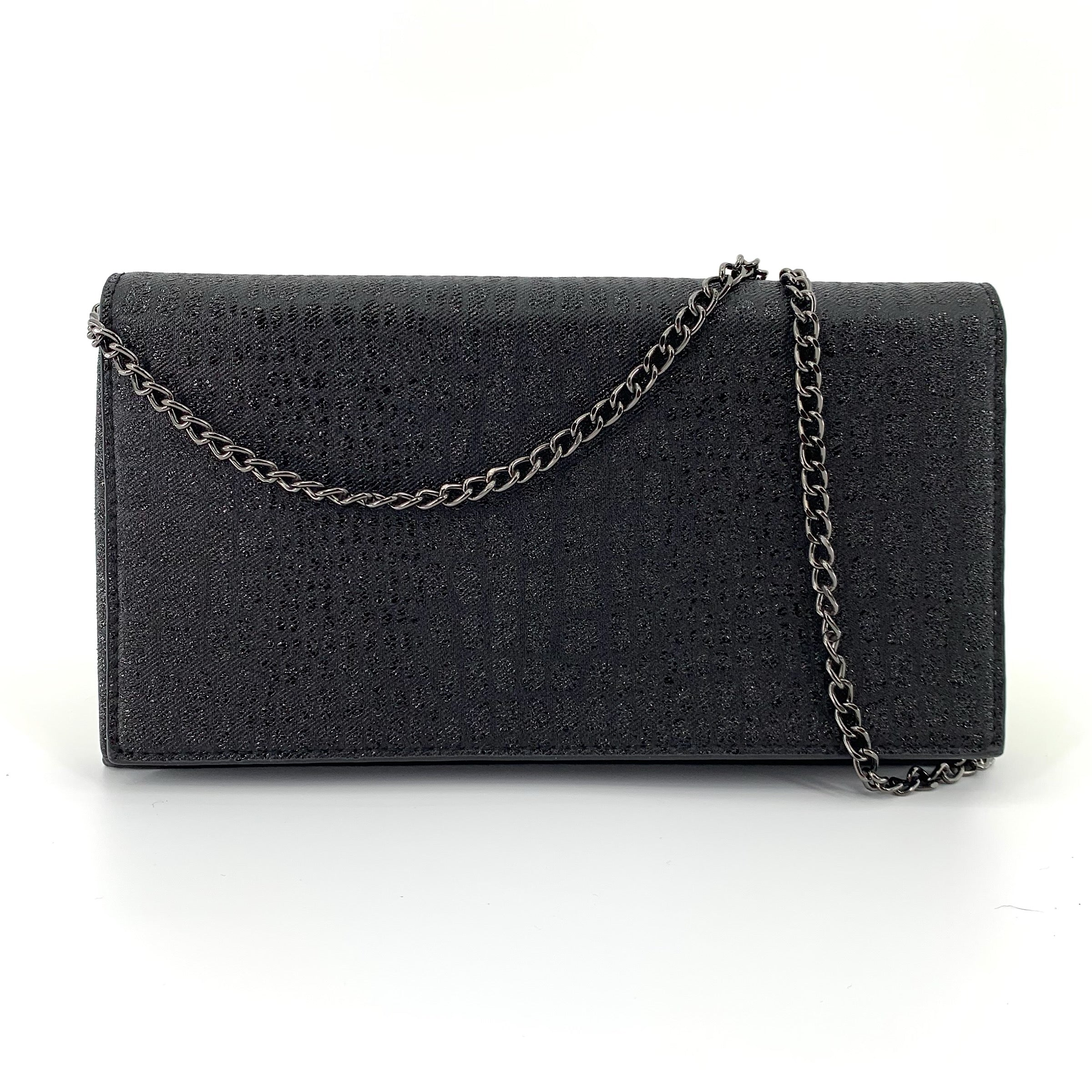 The Metallic Embossed Croco Clutch in Black