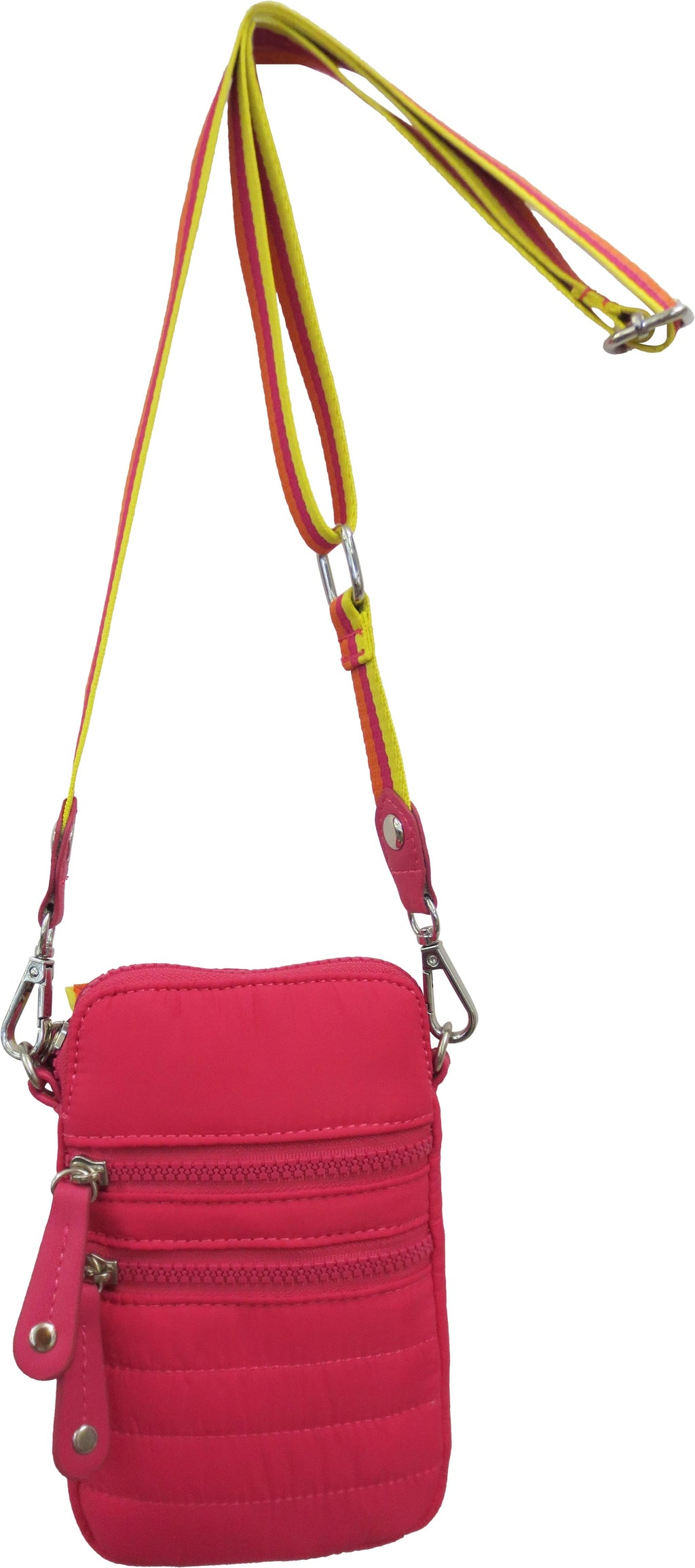 "SRB25178 - Nylon Cell Phone Crossbody in Pink by  Sondra  Roberts. A must have for the perfect hands-free crossbody to carry phone, keys, credit cards and small essentials. Quilted nylon shell and lining with dual exterior zipper pockets and one exterior rear slot pocket. Top zip closure with four interior credit card slot pockets. Dimensions: 7"" H x 5"" W x 1"" D. Imported"