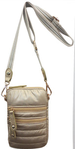 "SRB25198 - Nylon Shiney Cell Phone Crossbody in Gold by Sondra Roberts. A must have for the perfect hands-free crossbody to carry phone, keys, credit cards and small essentials. Quilted nylon shell and lining with dual exterior zipper pockets and one exterior rear slot pocket. Top zip closure with four interior credit card slot pockets. Dimensions: 7"" H x 5"" W x 1"" D. Imported"