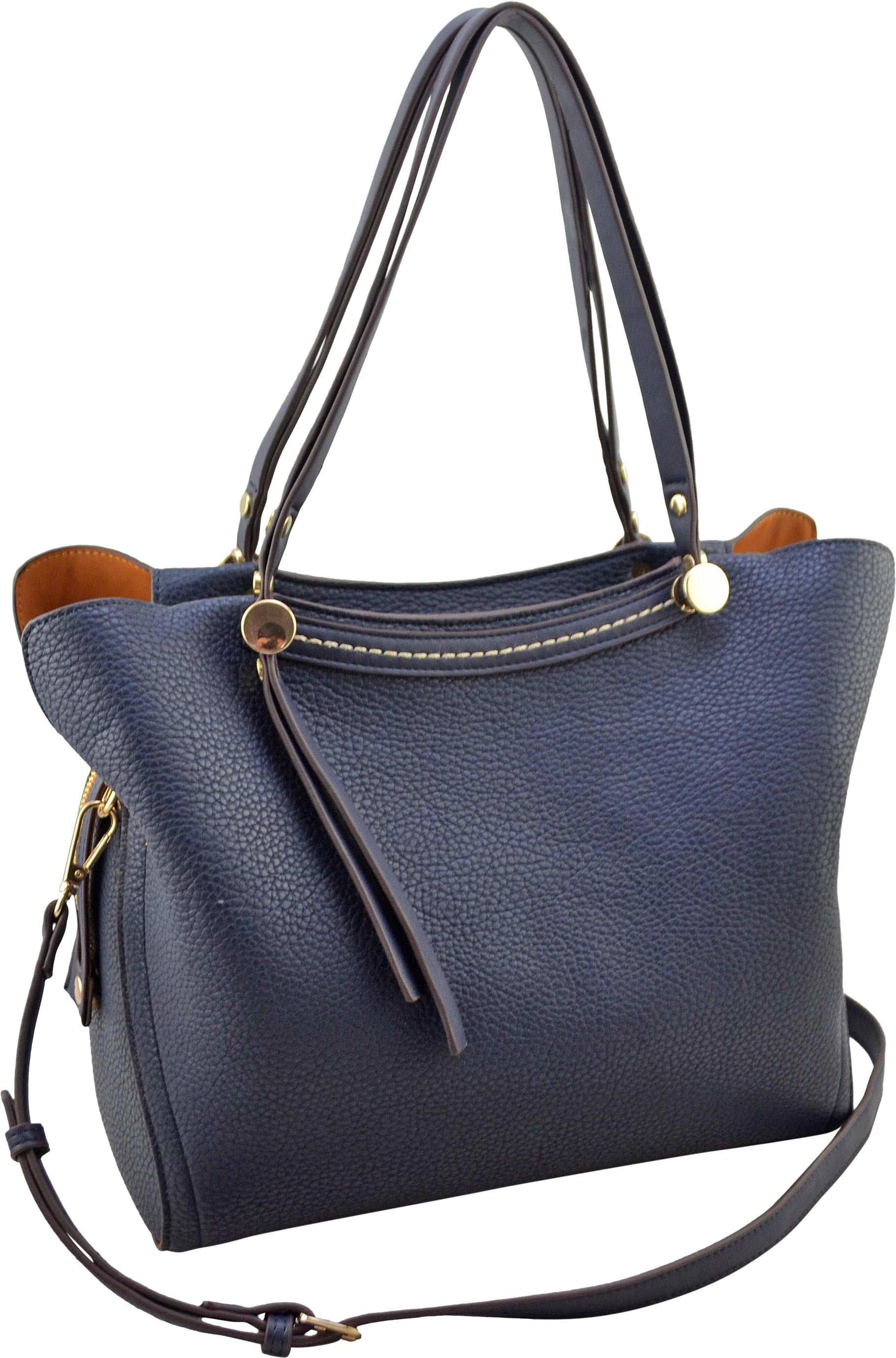 "SRB25214 - Pebble Satchel in Navy by Sondra Roberts. Silver hardware accents with a pepple texture full-size satchel. Perfect carry-all. Zipper closure. Comes with optional cross body strap. 1 interior zip pocket and 2 slip pockets. Faux leather. Imported. Dimensions: 12""W x 10""H x 6""D."