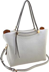 "SRB25214 - Pebble Satchel in White by Sondra  Roberts. Silver hardware accents with a pepple texture full-size satchel. Perfect carry-all. Zipper closure. Comes with optional cross body strap. 1 interior zip pocket and 2 slip pockets. Faux leather. Imported. Dimensions: 12""W x 10""H x 6""D."
