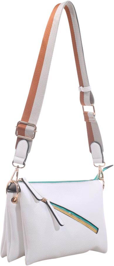 "SRB25255 - Pebble Crossbody in White by Sondra  Roberts. Fashionable pebble texture crossbody with two-tone front zipper and adjustable web strap. Vegan leather with top zipper closure. Roomy interior to hold all essentials. Dimensions 7"" H x 10"" W x 4"" D"