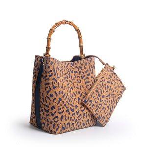 "SRB25305 - Crossbody Bucket in Cork with Denim Accent Color by Sondra Roberts. This adorable bucket shape, lazer cut leopard print in cork with bamboo handle and crossbody strap is a must have. Snap closure with interior added pouch. Dimensions: 7""L x 8""H x 5"" W. Imported."