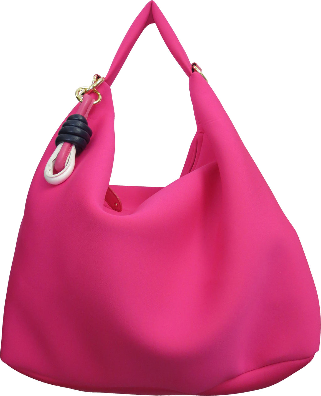 SRB25308 -  Neoprene Hobo in Pink by Sondra  Roberts. Pop of color in a neoprene, easy care hobo shoulder bag. Zipper closure. Imported