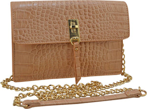 "SRB25356 - Croco Embossed Crossbody in Blush by Sondra Roberts,Versitile bag to be worn as crossbody or as a clutch. Vegan embossed croco leather with a flapover turnlock closure. Gold hardware with one exterior zipper pocket. The interior has three compartments with a zipper storage option and three built in slots for credit cards. Dimensions: 8"" W x 5"" H x 1"" D. Imported."