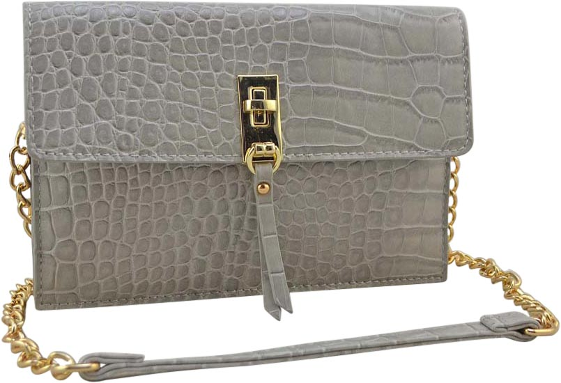 "SRB25356 - Croco Embossed Crossbody in Grey by Sondra Roberts. Versitile bag to be worn as crossbody or as a clutch. Vegan embossed croco leather with a flapover turnlock closure. Gold hardware with one exterior zipper pocket. The interior has three compartments with a zipper storage option and three built in slots for credit cards. Dimensions: 8"" W x 5"" H x 1"" D. Imported."