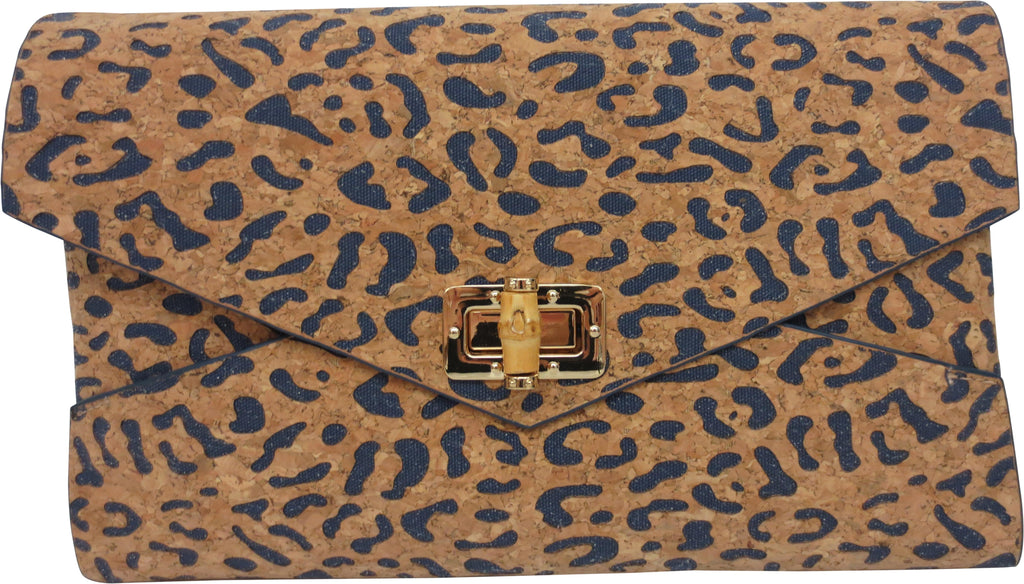 "SRB25383 - Clutch in Cork with Denim Accent Color by Sondra Roberts. Envelope style clutch with a turning bamboo closure in cork. Lazer cut leopard pattern with color inset. Dimensions: 11""W x 7"" H. Imported"