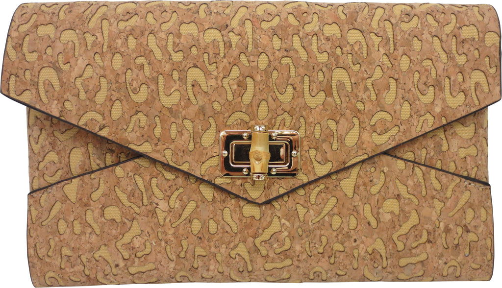 "SRB25383 - Clutch in Cork with Yellow Accent Color by Sondra Roberts. Envelope style clutch with a turning bamboo closure in cork. Lazer cut leopard pattern with color inset. Dimensions: 11""W x 7"" H. Imported"