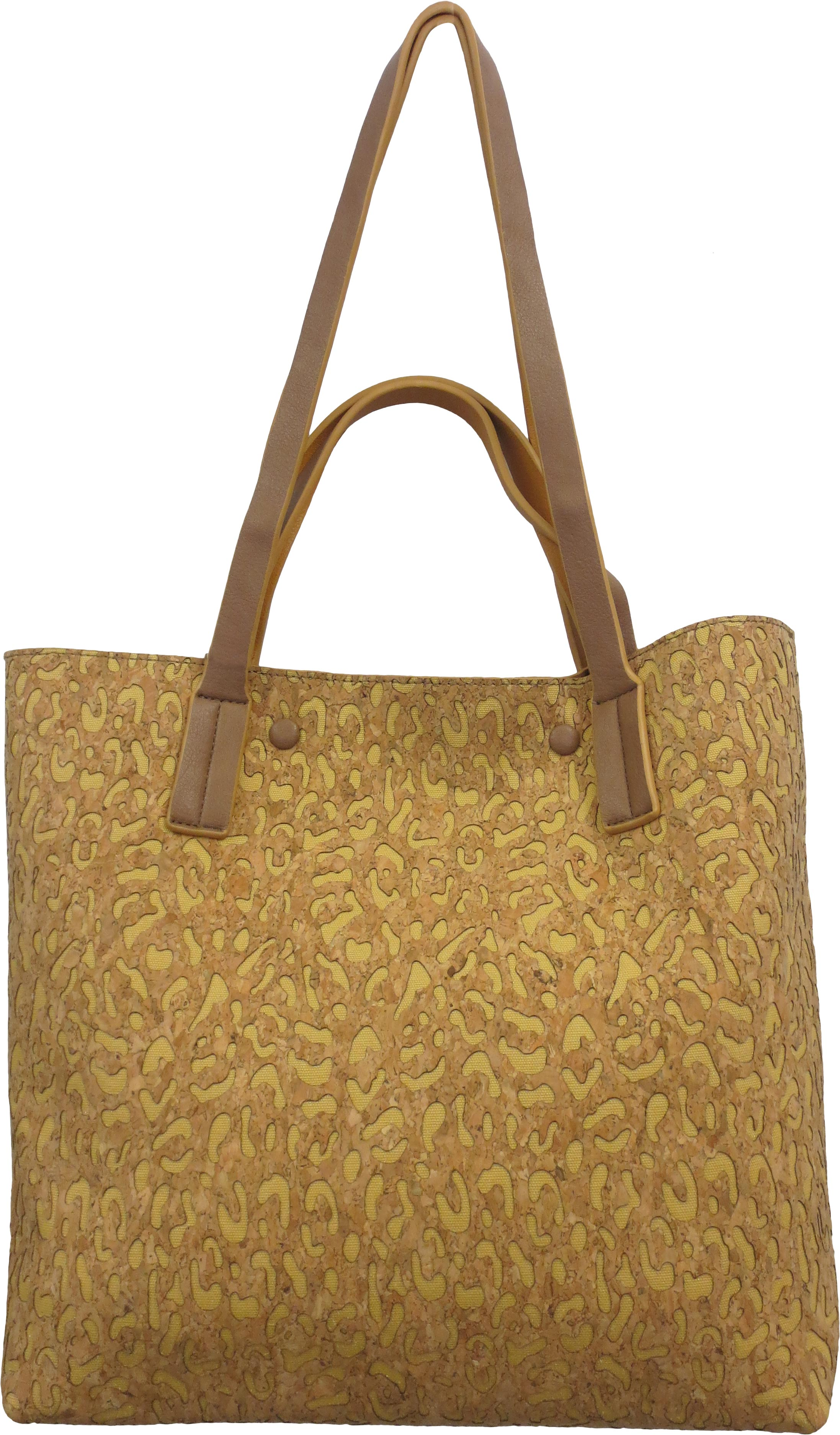 SRB23585 - Tote in Cork with Yellow Accent by Sondra  Roberts. Tote with top handle and shoulder strap in cork. Lazer cut leopard pattern with color inset. Imported.