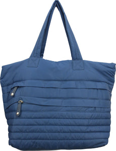 SRB25431 - Nylon Large Puffer Tote in Blue by Sondra Roberts. Puffer tote in nylon. 2 exterior pockets with roomy interior. Imported.