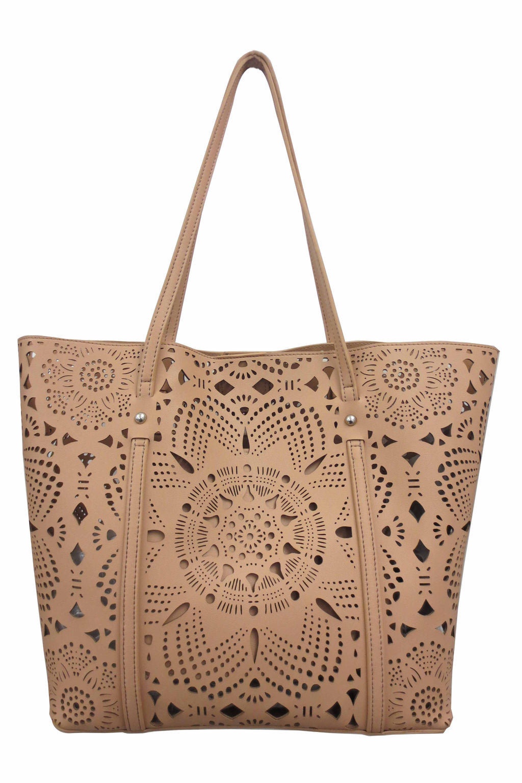 SRB25527 - Laser Cut Flower Tote in Natural by Sondra Roberts. This airy, lazer cut nappa lightweight tote is a beautiful update. Faux leather. Imported