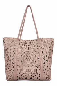 SRB25527 - Laser Cut Flower Tote in Pink by Sondra  Roberts. This airy, lazer cut nappa lightweight tote is a beautiful update. Faux leather. Imported